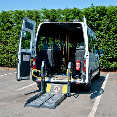 Once flush with the ground wheelchair user can move onto the platform